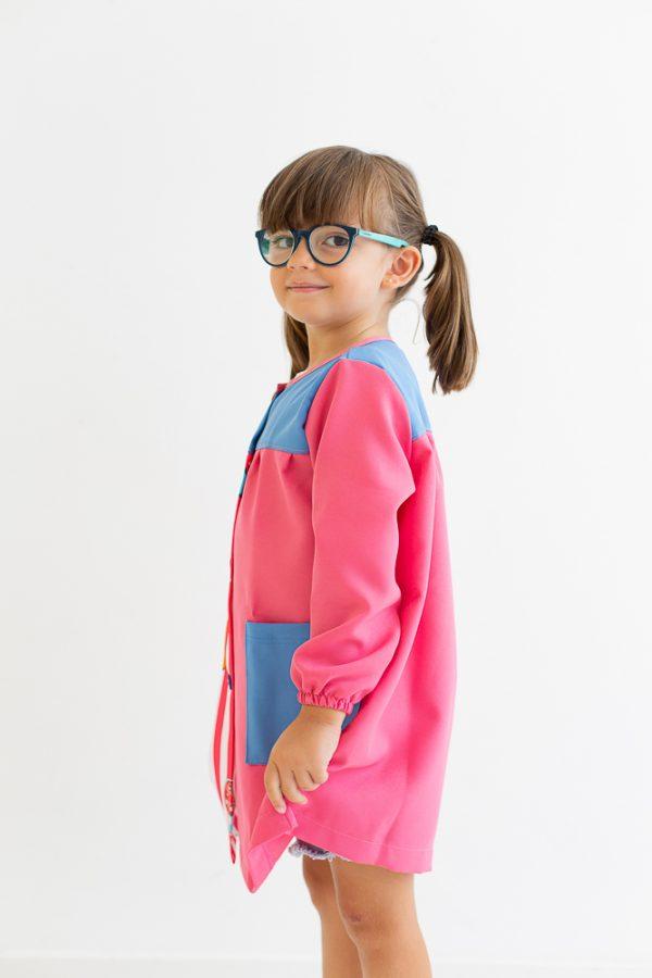 babi-escolar-melman-manga-larga-rosa-tela-lisa