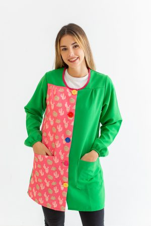 bata-maestra-manga-larga-cactus-estampado-fucsia